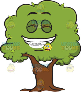 Grinning Healthy Leafy Tree Showing Pearly Whites Emoji