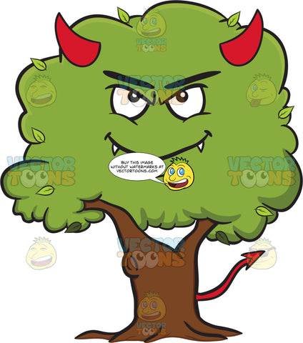 Devilish Looking Healthy Leafy Tree Emoji