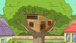 Tree House In A Suburban Backyard Background