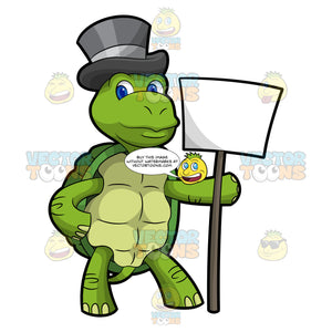 Trevor The Turtle Holding A Signboard