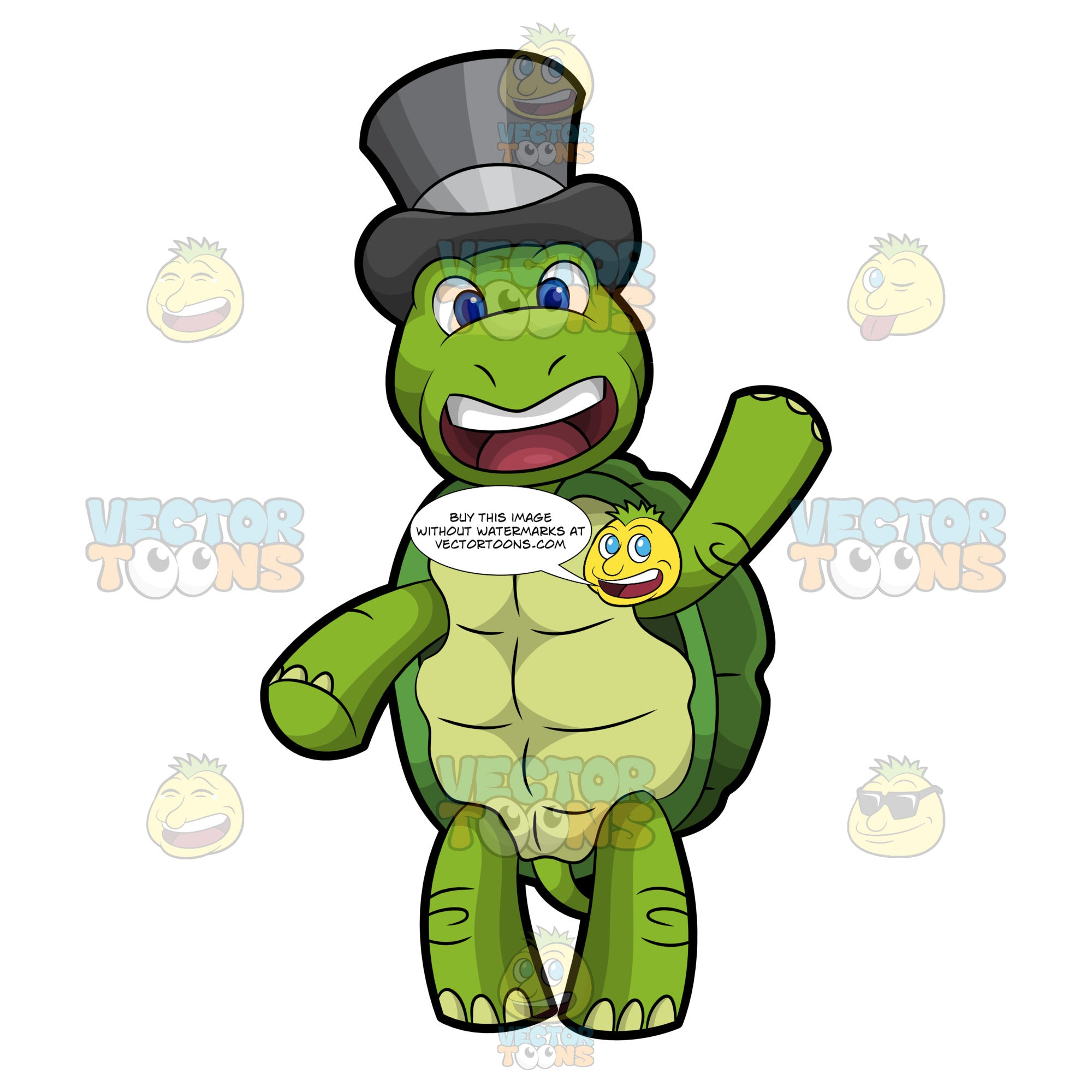Trevor The Turtle Waving Hello Clipart Cartoons By Vectortoons