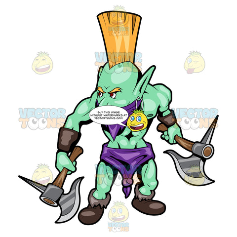 A Troll Warrior Carrying His Weapons
