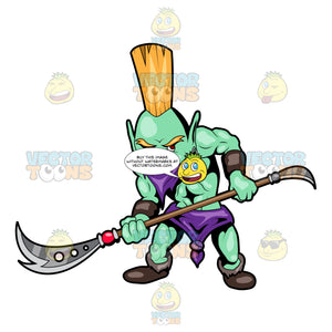 A Troll Warrior Ready To Fight With His Stick Blade