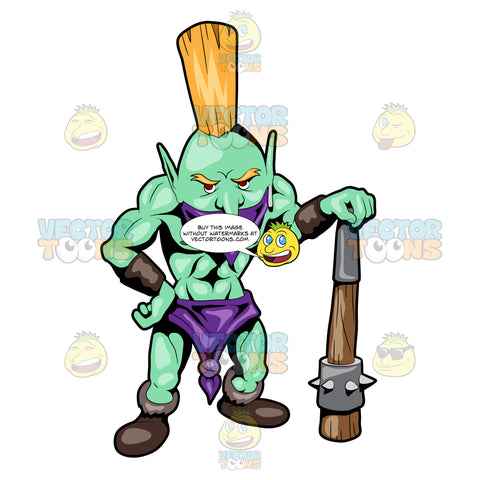 A Troll Warrior Waiting With His Spike Weapon