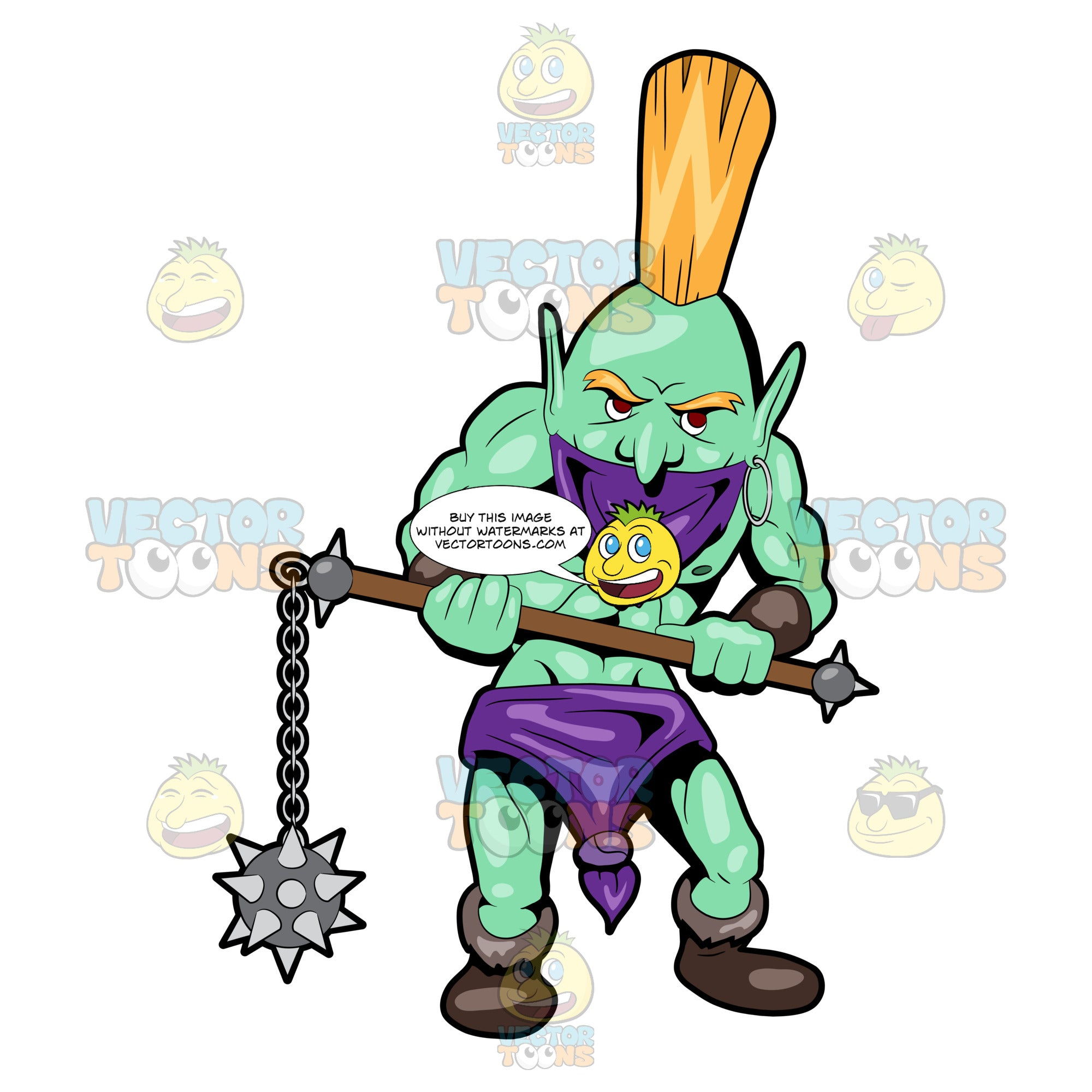 A Troll Warrior With His Spiked Mace