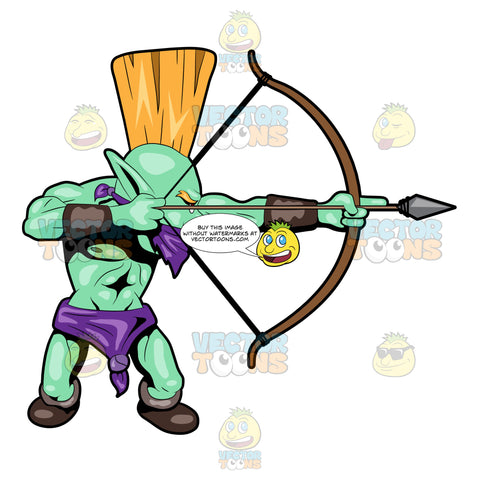 A Troll Warrior Using His Bow And Arrow