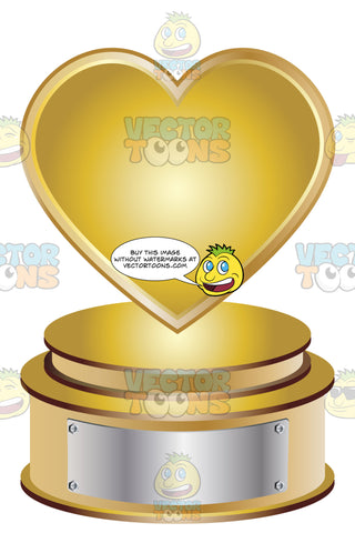 Gold Heart Trophy On Gold Metal Base With Blank Silver Inscription Plaque On Base