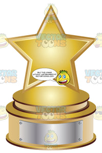 Gold Star Trophy On Gold Metal Base With Blank Silver Inscription Plaque On Base
