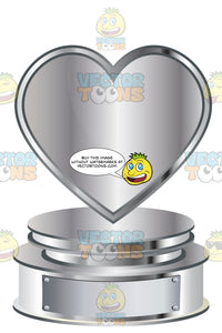Silver Heart Trophy On Silver Metal Base With Blank Silver Inscription Plaque On Base