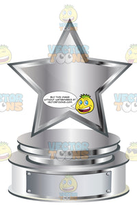 Silver Star Trophy On Silver Metal Base With Blank Silver Inscription Plaque On Base