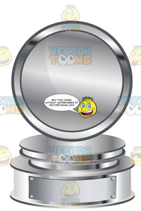 Silver Circle Trophy On Silver Metal Base With Blank Silver Inscription Plaque On Base