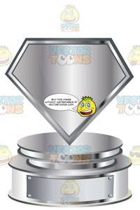 Silver Shield Trophy On Silver Metal Base With Blank Silver Inscription Plaque On Base