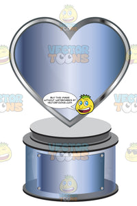 Blue Metallic Heart Trophy On Blue Metallic Base With Blank Blue Metallic Inscription Plaque On Base