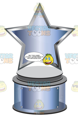 Blue Metallic Star Trophy On Blue Metallic Base With Blank Blue Metallic Inscription Plaque On Base