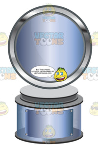 Blue Metallic Circle Trophy On Blue Metallic Base With Blank Blue Metallic Inscription Plaque On Base