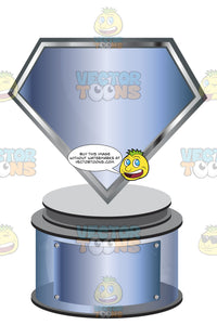 Blue Metallic Shield Trophy On Blue Metallic Base With Blank Blue Metallic Inscription Plaque On Base
