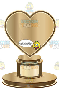 Bronze Heart Trophy On Bronze Base With Blank Gold Inscription Plaque On Base
