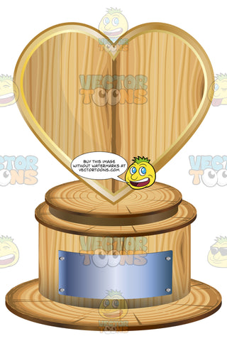 Wooden Heart Trophy On Woodne Base With Blank Silver Inscription Plaque On Base