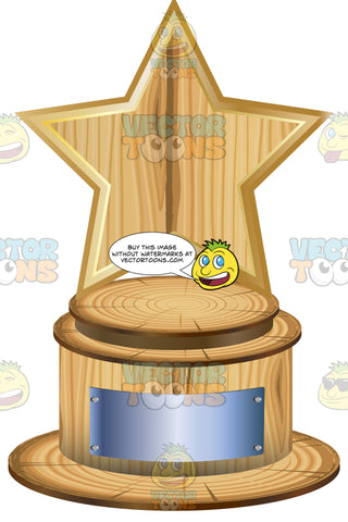 Wooden Star Trophy On Woodne Base With Blank Silver Inscription Plaque On Base
