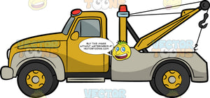 Towing Truck. A yellow truck with red rotating lights, four gray wheels, a diagonal bar that has a metal rope and hook for towing