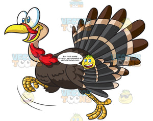 A Turkey Running In Excitement
