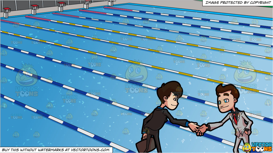 Two Business People Shaking Hands and Outdoor Competition Swimming Pool  Background