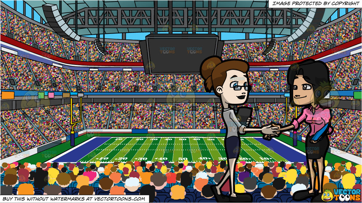 Two Female Colleagues Shaking Hands And A Football Stadium