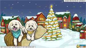 Two Puppies Resting At Home and Santas Village Background
