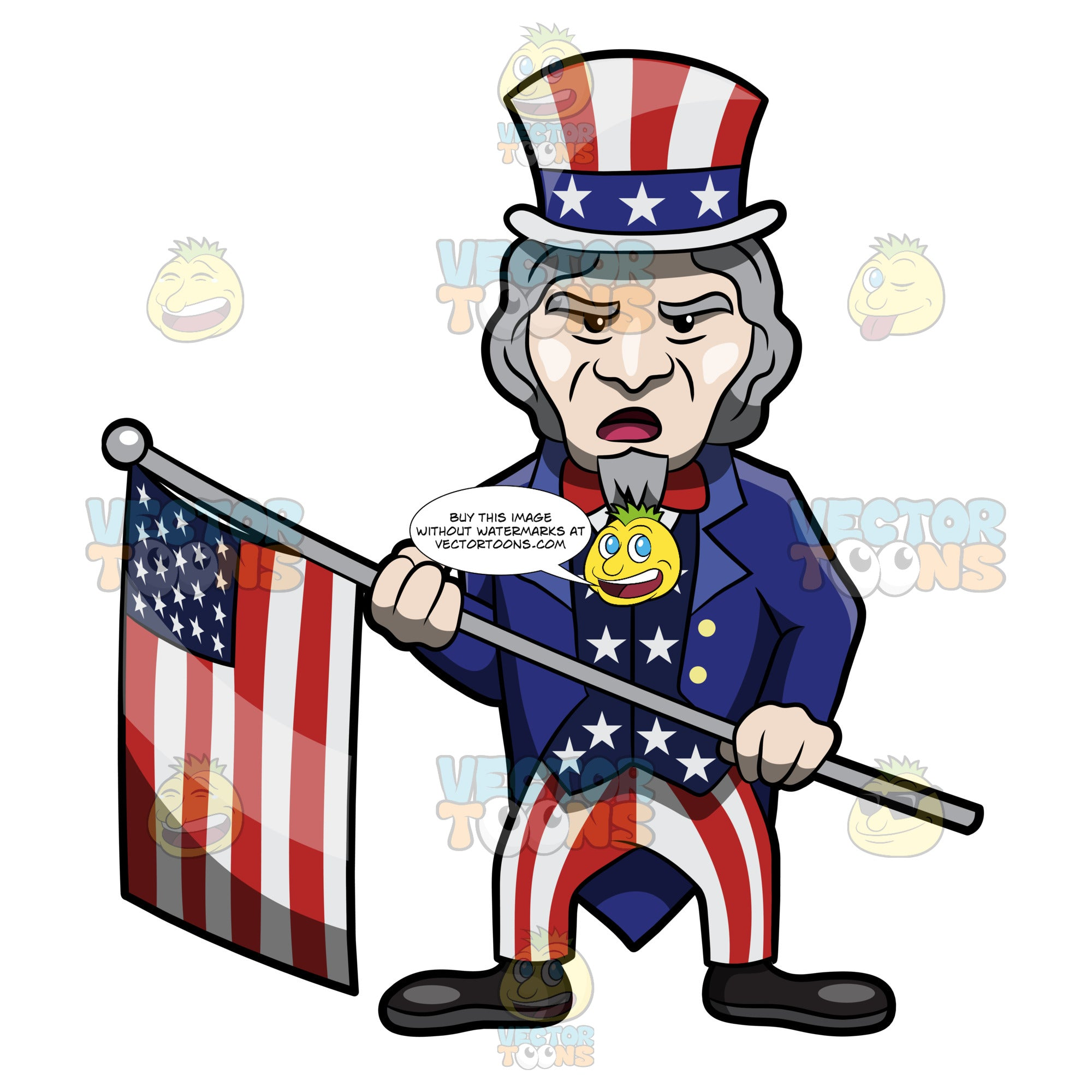 Uncle Sam Parading The Usa Flag