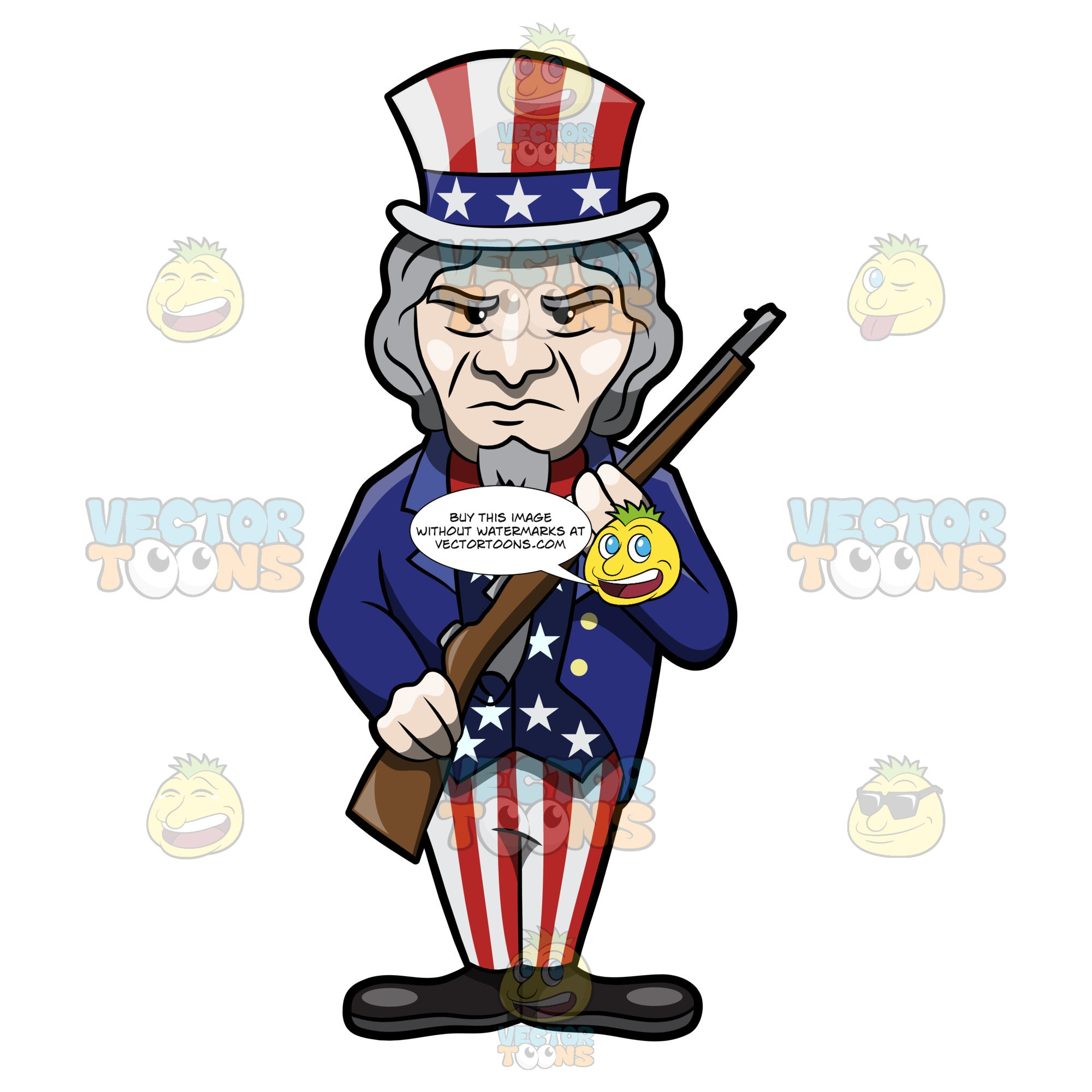 Uncle Sam Posing With A Rifle