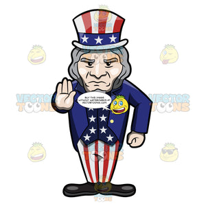 Uncle Sam Signaling Someone To Stop Whatever They Are Doing