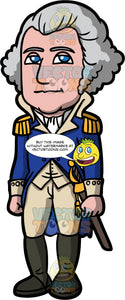 George Washington. First United States President George Washington standing in his military uniform