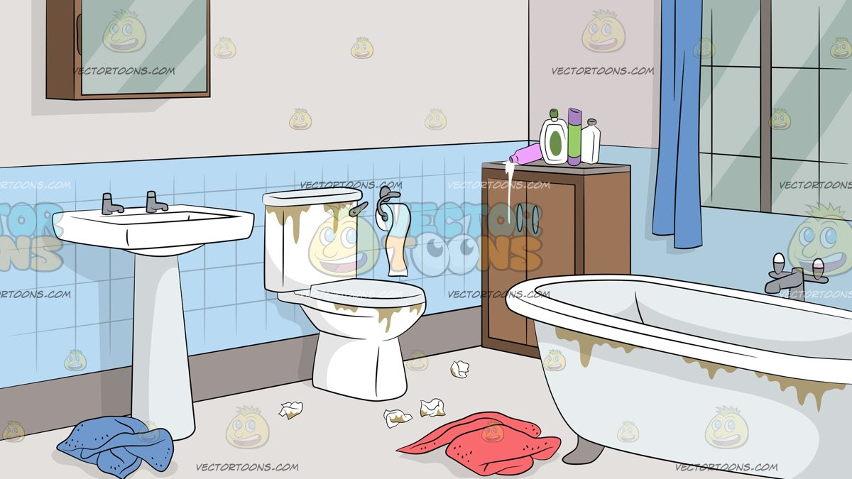 Untidy Bathroom Background - Clipart Cartoons By VectorToons