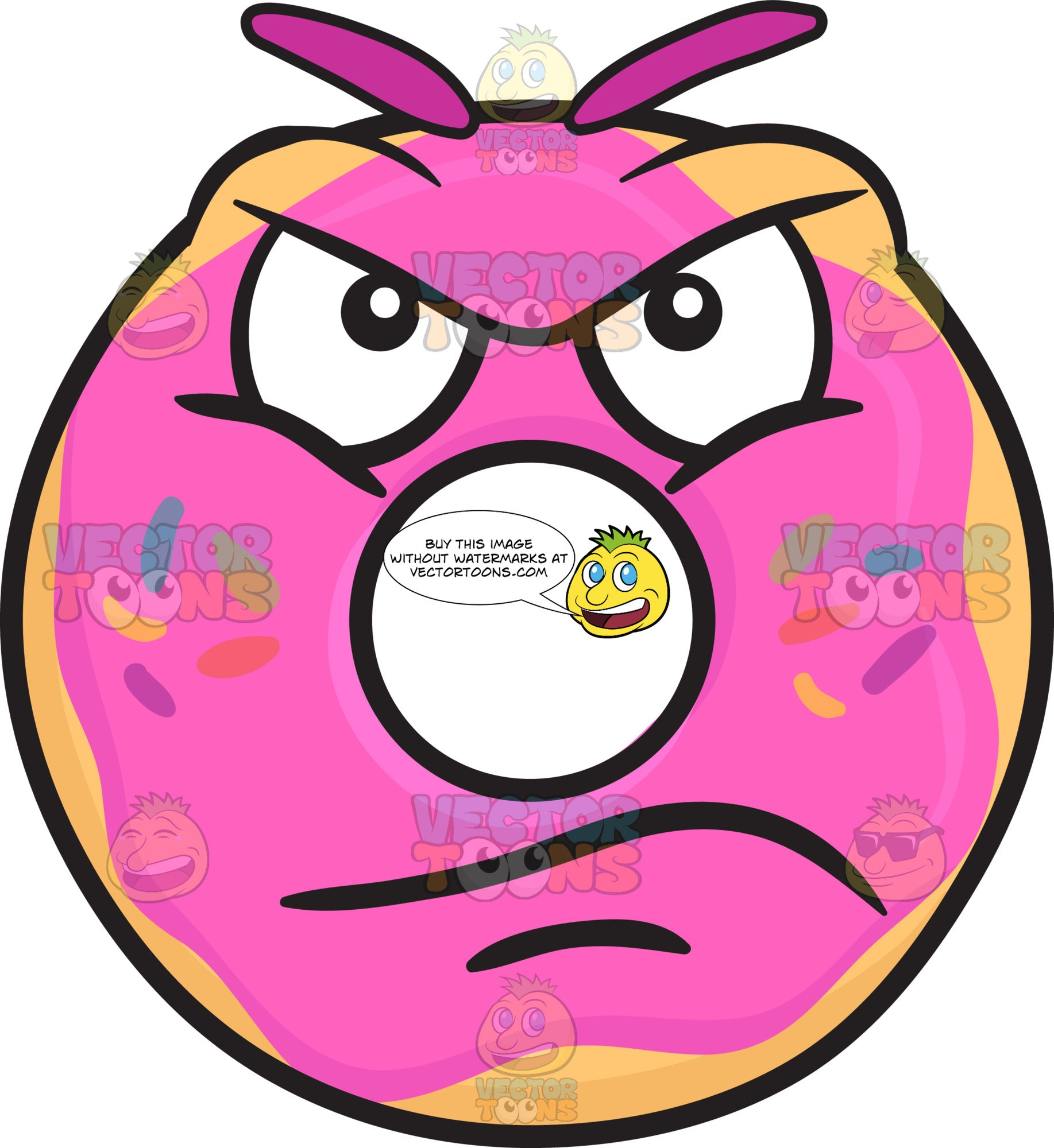 Upset Donut With Infuriated Look Emoji