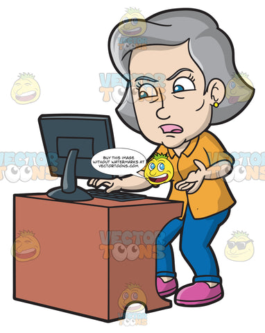 A Mature Woman Gets Angry While Using A Computer