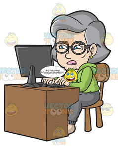 A Mature Woman Frustratingly Uses The Computer