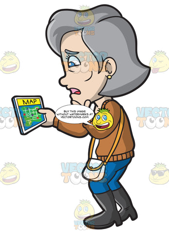 A Mature Woman Using A Map Application