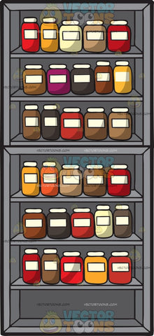Variety Of Spices For Sale Stored In Shelves
