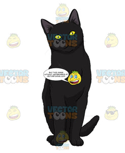 Black Cat With Yellow Eyes Sitting And Looking Ahead