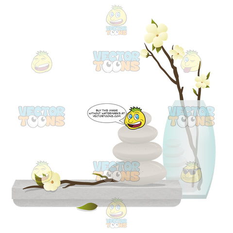 Grey Stone Slab With A Stack Of Grey Spa Stones In Front Of A Vase With Flowers In It