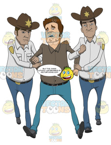 Caucasian Man Being Hauled Away By Two Sheriffs