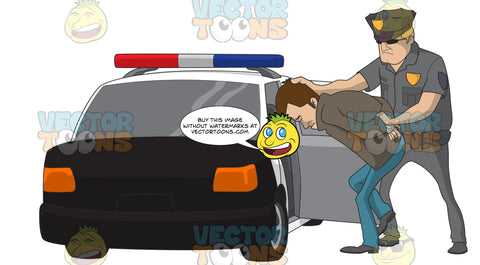 Police Officer Putting A Caucasian Male Suspect In The Back Of His Police Car