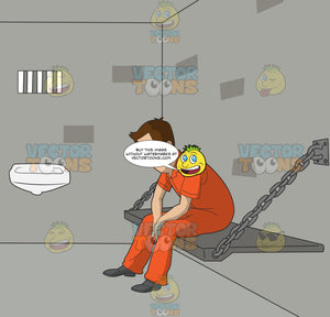 Caucasian Man In An Orange Jumpsuit Sitting On A Bench In A Jail Cell Looking Sad