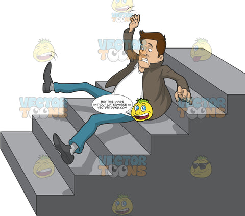 Caucasian Man Slipping And Falling Down A Set Of Stairs