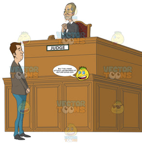 Caucasian Man Standing In Front Of A Judge In Court