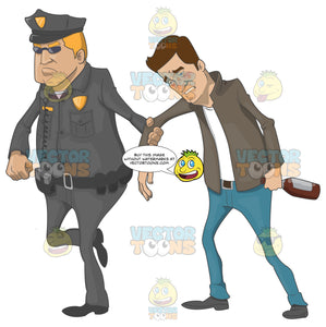 Drunk Caucasian Man Being Led Away By A Police Officer