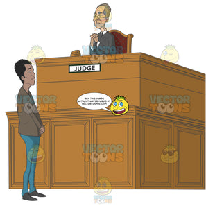 African American Man Standing In Front Of A Judge'S Bench While The Judge Looks Down On Him Disapprovingly