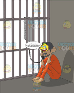 Hispanic Man In An Orange Jumpsuit Sitting On The Floor Of A Jail Cell Making A Call On A Pay Phone That Is Outside The Cell