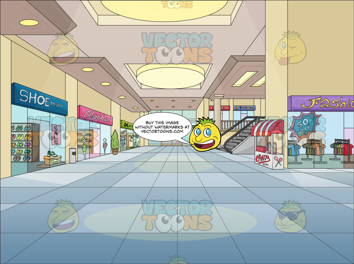 Shopping Mall Background – Clipart Cartoons By VectorToons