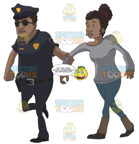 African American Police Officer Pulling On An African American Woman'S Arm